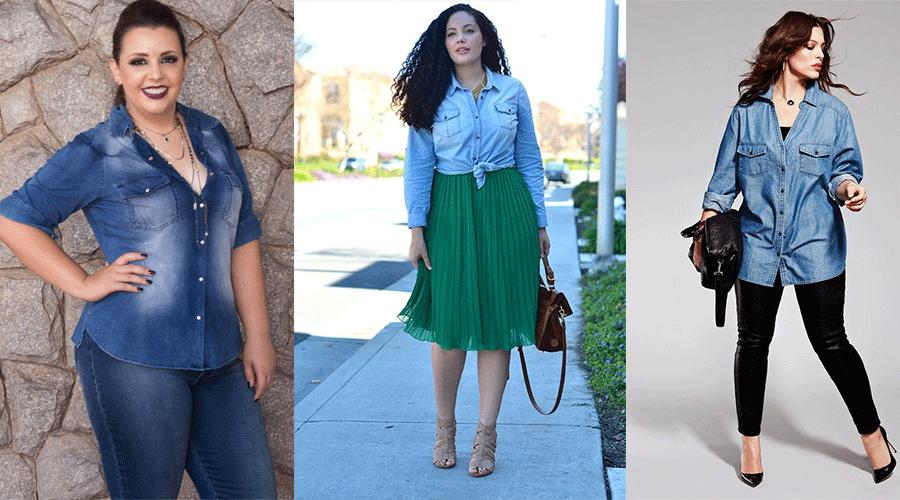 b8369cc42cca Camisa jeans plus size feminina – Maneiras bacanas de usar ...